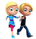 Render of Little Boy and Girl with running pose Stock Image