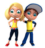 Render of Little Boy and Girl with thums up pose Stock Photos