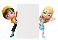 Render of Little Boy and Girl with white board Royalty Free Stock Images