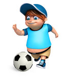 Render of Little Boy with playing football Stock Images