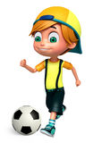 Render of Little Boy with playing football. 3D Render of Little Boy with playing football Royalty Free Stock Photos