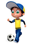 Render of Little Boy with playing football. 3D Render of Little Boy with playing football Stock Photo
