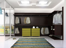 Render of luxury apartment dressing room Stock Images