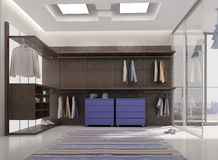 Render of luxury apartment dressing room. 3d render of luxury apartment dressing room interior stock illustration