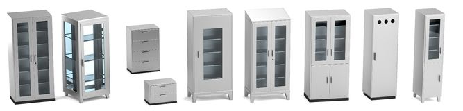 Render of medical cabinets Stock Photo
