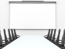 Render of meeting room with projection screen Stock Image