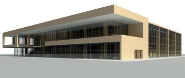 Render of the modern building. Render: view of the multifunctional building Stock Photography