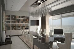 Render of modern expensive cabinet. Architectural visualization of the director`s cabinet Stock Image