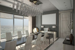 Render of modern expensive cabinet. Architectural visualization of the director`s cabinet Royalty Free Stock Images