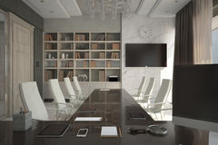 Render of modern expensive cabinet. Architectural visualization of the director`s cabinet Stock Photography