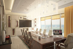 Render of modern expensive cabinet. Architectural visualization of the director`s cabinet Royalty Free Stock Photos