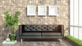 Render modern interior with sofa Royalty Free Stock Image