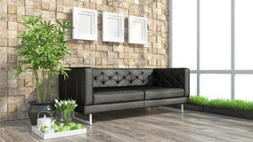Render modern interior with sofa Royalty Free Stock Photography
