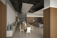 Render of the modern lounge zone Stock Photo