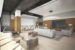 Render of the modern lounge zone Royalty Free Stock Photos