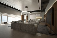 Render of the modern lounge zone Royalty Free Stock Photography