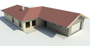 Render: single family house Royalty Free Stock Photo