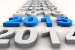 Render of the new year 2015 in blue Stock Photography