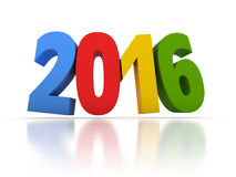 Render of the New Year 2016 with colors Royalty Free Stock Photos