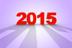 Render of new year 2015 in 3D. 3D render happy new year red 2015 shadows Stock Images