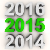 Render of the new year 2015 in green Royalty Free Stock Image