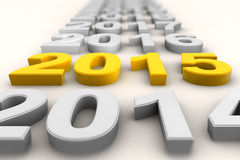 Render of the new year 2015 in yellow Royalty Free Stock Image
