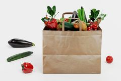 Render of Paper Bag with Vegetable vector illustration