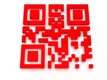 Render of QR code. On white background Royalty Free Stock Photography