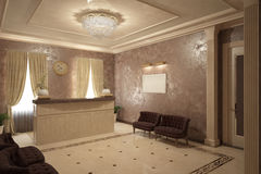 Render of reception interior Stock Photo