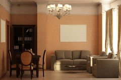 Render of the recreation room Royalty Free Stock Photo