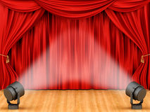 Render of red curtains Royalty Free Stock Photography