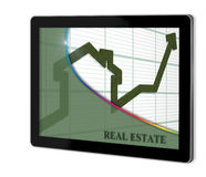 Render of rising arrow. Shaped like a house  on screen of tablet  made in 3d software Stock Images