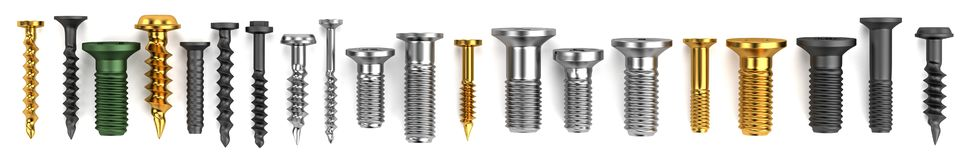 Render of screws Royalty Free Stock Photography