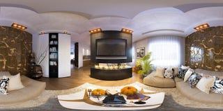 Render seamless panorama of living room interior Royalty Free Stock Photo