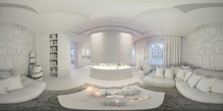 Render seamless panorama of living room interior Royalty Free Stock Photos