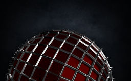 Render of sphere with tips ond the dark grunge background. Stock Photography