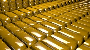 Render of stacks of gold bars. 3D render of stacks of gold bars Stock Photos