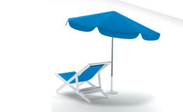 Deck chair with Umbrella on white background Stock Image