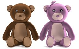 Render of teddy bears Royalty Free Stock Photography