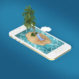 render of tropical island resort with blue sea ocean water, sand beach and palm trees on smartphone screen Travel, tourism holiday Royalty Free Stock Images