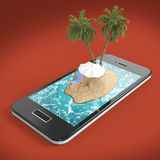 render of tropical island resort with blue sea ocean water, sand beach and palm trees on smartphone screen Travel, tourism holiday Royalty Free Stock Image