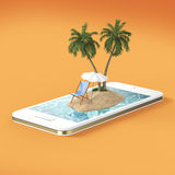 Render of tropical island resort with blue sea ocean water, sand beach and palm trees on smartphone screen Travel, tourism holiday. 3D render of tropical island Stock Images