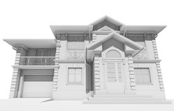 Render visualization white cottage Royalty Free Stock Image
