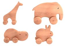 Render of wooden toys Royalty Free Stock Photos