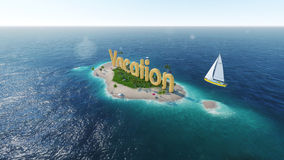 render word vacation on tropical paradise island with palm trees an sun tents. sail boat in the ocean. Royalty Free Stock Images
