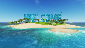 render word welcome made of sand on tropical paradise island with palm trees an sun tents. Summer vacation tour concept. Stock Photography