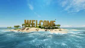 Render word welcome made of sand on tropical paradise island with palm trees an sun tents. Summer vacation tour concept. 3d render word welcome made of sand on Royalty Free Stock Photo