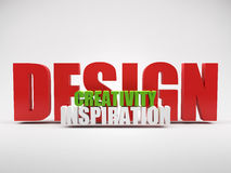 Render of words design creativity inspiration. Over grey background vector illustration