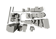 Rendered 3d model of a city Royalty Free Stock Photos