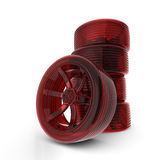 Rendered 3D red car tires Stock Photography